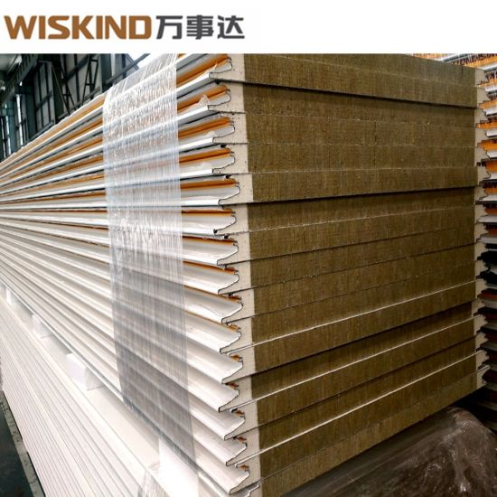 PU Sealed Rock Wool Sandwich Panel for Steel Structure Workshop